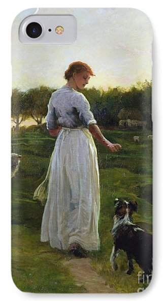 A Shepherdess With Her Dog And Flock In A Moonlit Meadow IPhone Case by George Faulkner Wetherbee