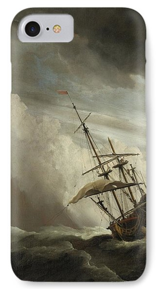 A Ship On The High Seas Caught By A Squall IPhone Case by Celestial Images