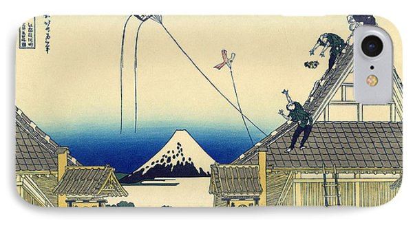 A Sketch Of The Mitsui Shop In Suruga Street In Edo IPhone Case by Hokusai