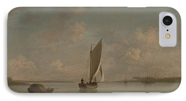 A Smack Under Sail In A Light Breeze In A River IPhone Case by Charles Brooking