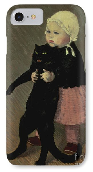 A Small Girl With A Cat Phone Case by TA Steinlen