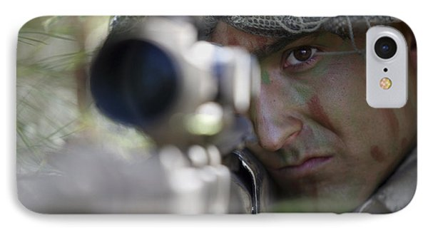 A Sniper Sights In On A Target Phone Case by Stocktrek Images