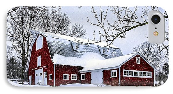 A Snowy Day At Grey Ledge Farm IPhone Case by Betty Denise