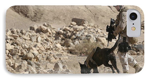 A Soldier And His Dog Search An Area Phone Case by Stocktrek Images