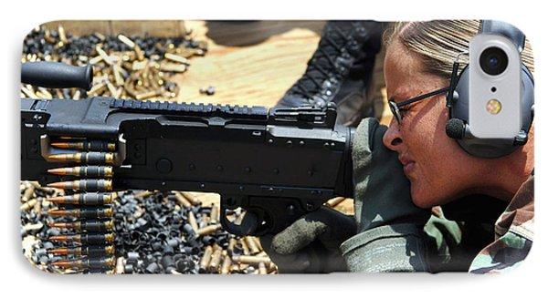 A Soldier Fires An M240b Medium Machine Phone Case by Stocktrek Images
