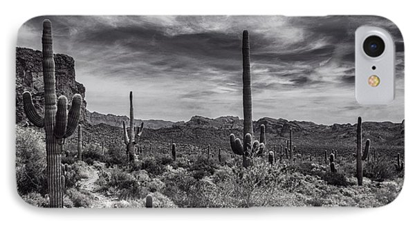 IPhone Case featuring the photograph A Morning Hike In The Superstition In Black And White  by Saija Lehtonen