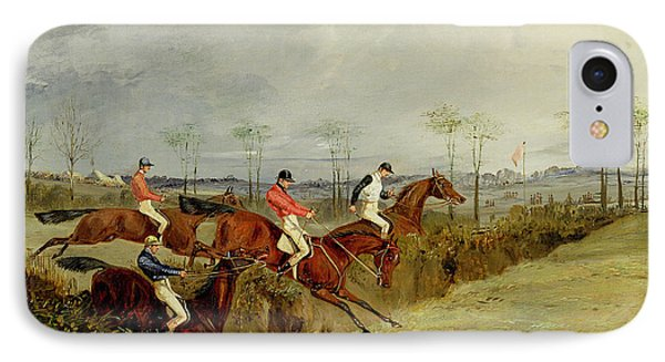 A Steeplechase - Taking A Hedge And Ditch  Phone Case by Henry Thomas Alken