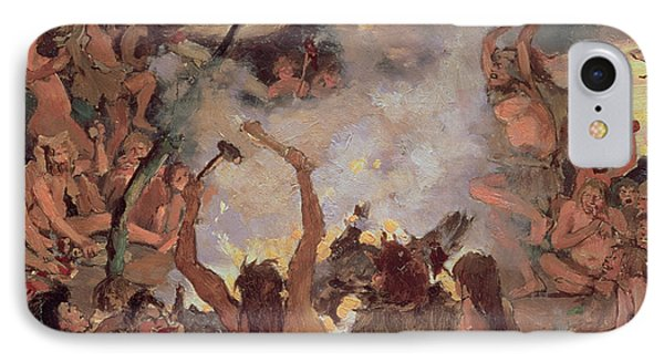 A Stone Age Feast IPhone Case by Victor Mikhailovich Vasnetsov
