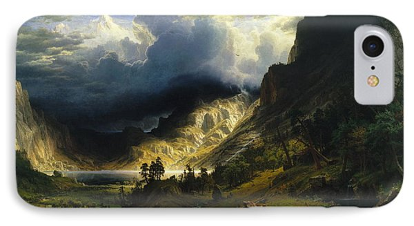 A Storm In The Rocky Mountains Mt. Rosalie, 1866 IPhone Case by Albert Bierstadt