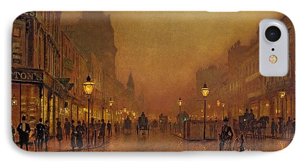 A Street At Night IPhone Case by John Atkinson Grimshaw