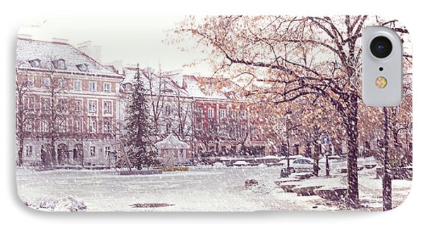 IPhone Case featuring the photograph A Street In Warsaw, Poland On A Snowy Day by Juli Scalzi