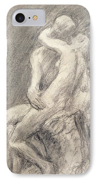 A Study Of Rodin's Kiss In His Studio IPhone Case by Gwen John