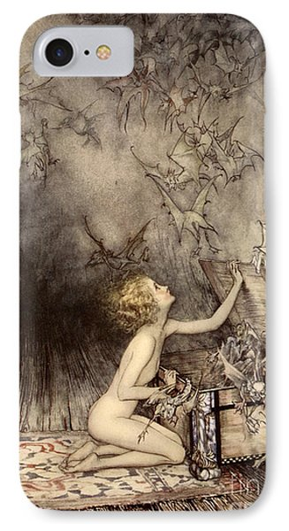 A Sudden Swarm Of Winged Creatures Brushed Past Her IPhone Case by Arthur Rackham