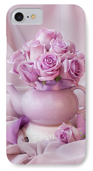 A Tea Pot Of Lavender Pink Roses  IPhone Case