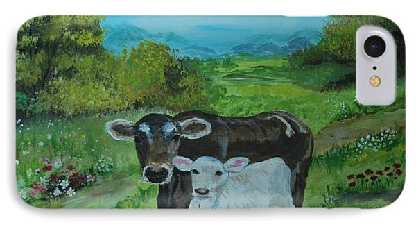 IPhone Case featuring the painting A Tender Love by Leslie Allen