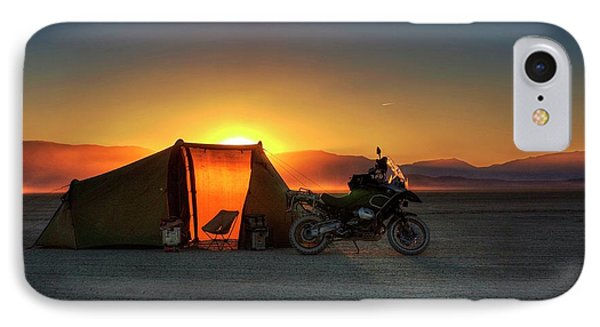 IPhone Case featuring the photograph A Tent, A Motorcycle, And A Sunset On The Playa by Peter Thoeny