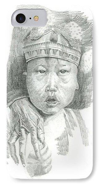 A Tibetan Child Portrait Sketch IPhone Case by Makarand Joshi