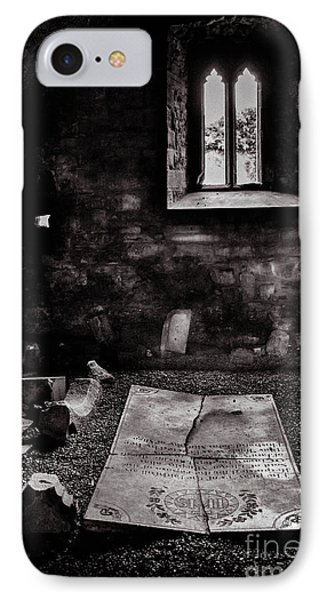 IPhone Case featuring the photograph A Tombstone In Sligo Abbey Bw by RicardMN Photography