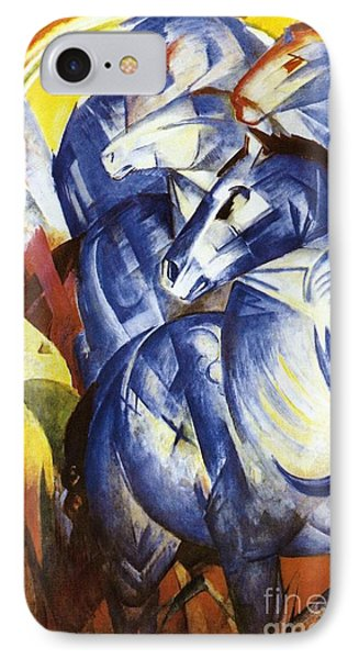 A Tower Of Blue Horses IPhone Case by Franz Marc