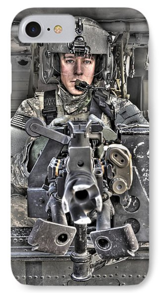 A Uh-60 Black Hawk Door Gunner Manning Phone Case by Terry Moore