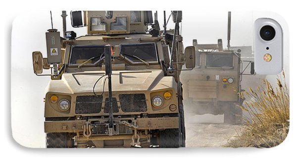 A U.s. Army M-atv Leads A Convoy Phone Case by Stocktrek Images