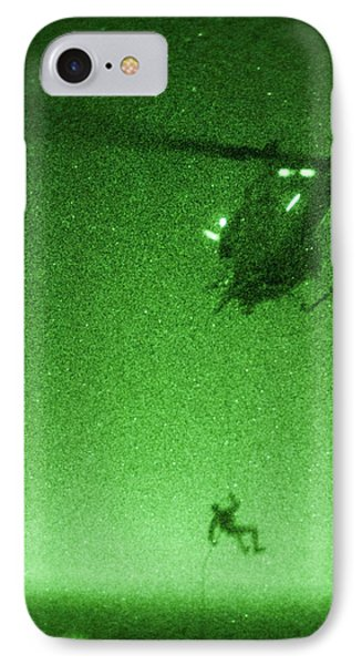 A U.s. Marine Rappels From A Uh-1n Huey Helicopter IPhone Case by Celestial Images