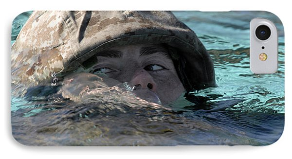A U.s. Marine Swims Across A Training Phone Case by Stocktrek Images