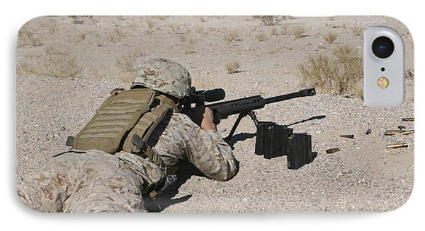A U.s. Marine Zeros His M107 Sniper Phone Case by Stocktrek Images