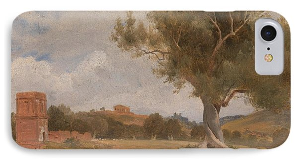 A View At Girgenti In Sicily With The Temple Of Concord And Juno By Charles Lock Eastlake, Circa 181 IPhone Case by Celestial Images