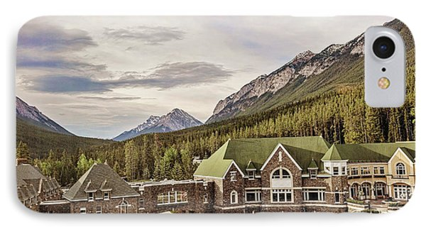 A View Of The Canadian Rockies From The Fairmont Hotel In Banff IPhone Case by Scott Pellegrin