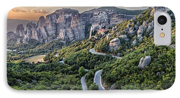 A View Of The Meteora Valley In Greece IPhone Case by Andres Leon
