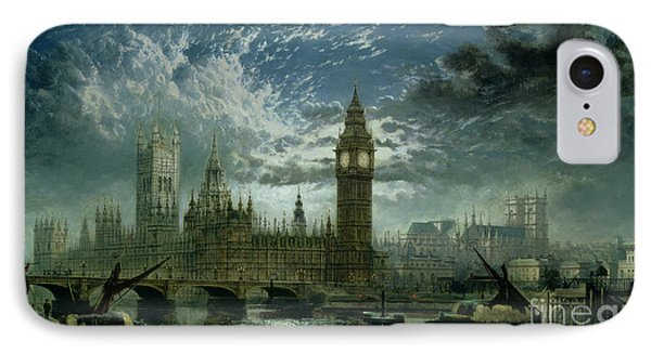 A View Of Westminster Abbey And The Houses Of Parliament IPhone Case by John MacVicar Anderson