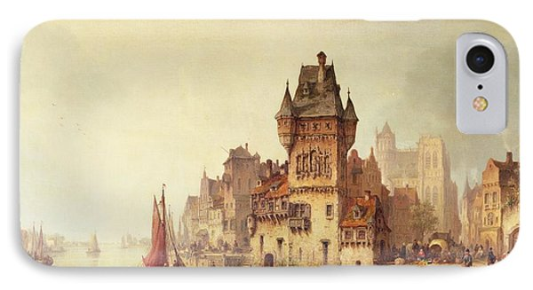 A View On The River Dordrecht IPhone Case by Ludwig Hermann