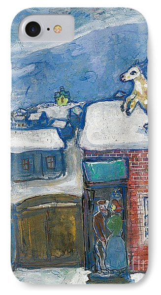 A Village In Winter IPhone Case by Marc Chagall