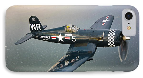 A Vought F4u-5 Corsair In Flight IPhone Case by Scott Germain