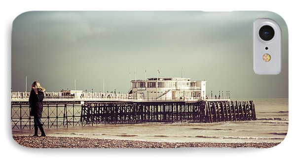 A Walk By The Pier IPhone Case by David Warrington
