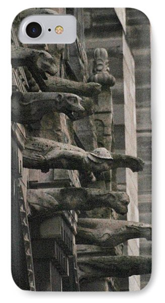 A Wall Of Gargoyles Notre Dame Cathedral IPhone Case by Christopher Kirby