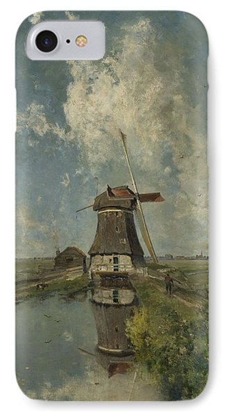 A Windmill On A Polder Waterway IPhone Case by Celestial Images