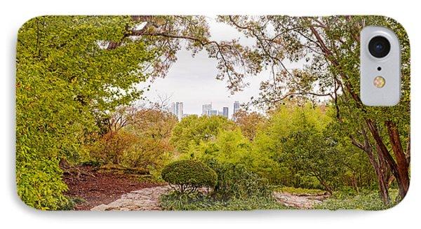 A Window To Downtown Austin From Zilker Botanical Garden - Austin Texas Hill Country IPhone Case by Silvio Ligutti