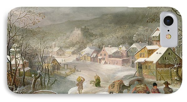 A Winter Landscape With Travellers On A Path IPhone Case by Denys van Alsloot
