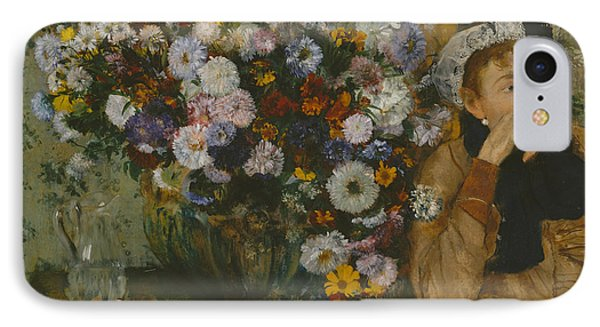 A Woman Seated Beside A Vase Of Flowers, 1865 IPhone Case