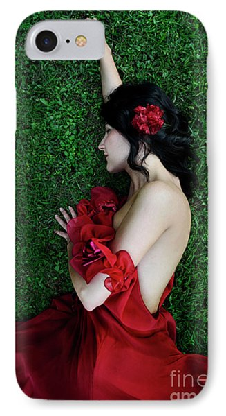 A Woman Sleeping On The Grass In A Red Dress IPhone Case