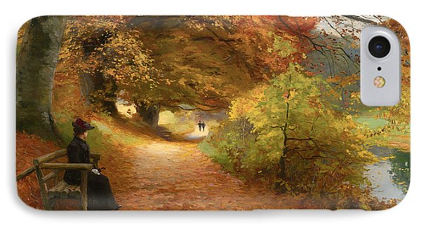A Wooded Path In Autumn IPhone Case