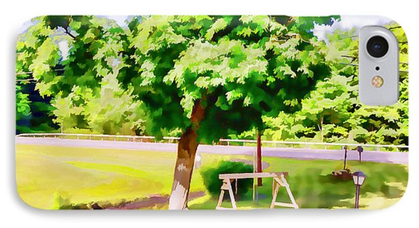 A Wooden Swing Under The Tree 1 IPhone Case by Lanjee Chee