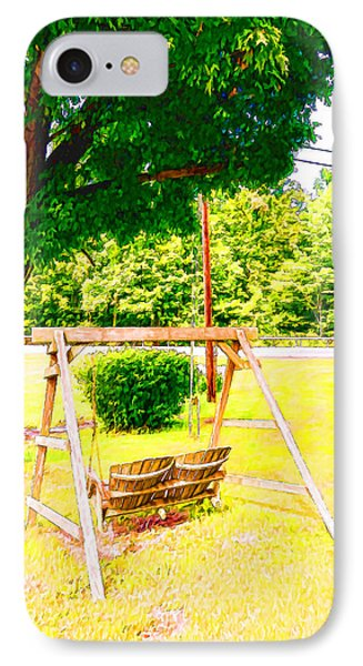 A Wooden Swing Under The Tree IPhone Case by Lanjee Chee