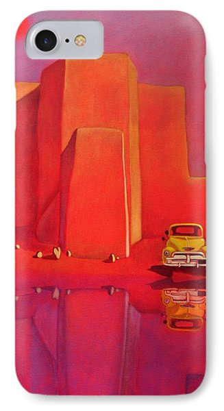 IPhone Case featuring the painting A Yellow Truck With A Red Moon In Ranchos by Art West