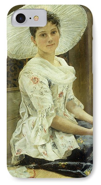 A Young Beauty In A White Hat  IPhone Case by Franz Xaver Simm