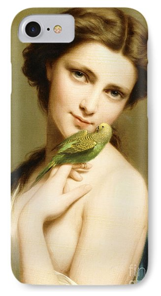 Parakeet iPhone 7 Case - A Young Beauty With A Parakeet by Fritz Zuber-Buhler