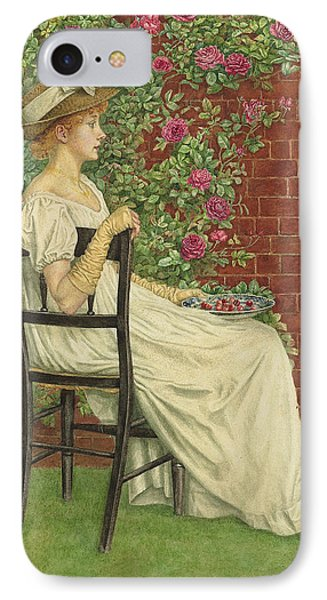A Young Girl Seated In A Chair, A Bowl Of Cherries In Her Hand IPhone Case by Kate Greenaway