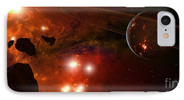 A Young Ringed Planet With Glowing Lava Phone Case by Frieso Hoevelkamp